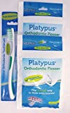 Platypus Ortho Flossers 2 x 30/Pack = total 60 flossers + FREE Ortho Toothbrush Included