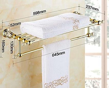 KIEYY El Cobre Oro Crystal Baño Toallero Metal Antiguas Colgadas En La Bandeja Incorporada Wc Baño