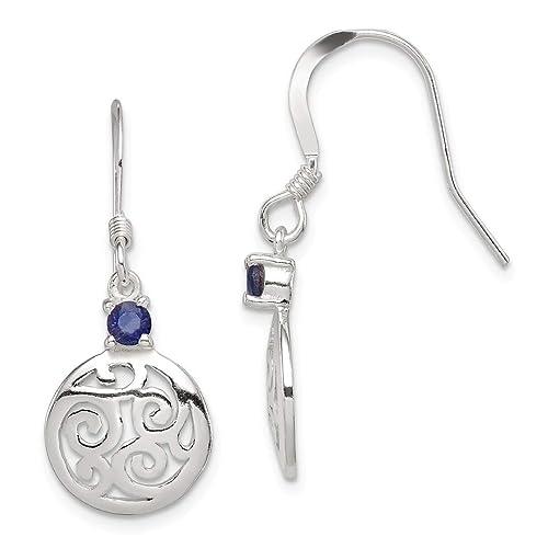 ebc1a3abf0cf Icecarats® Funda Jewelry - Pendientes de plata de ley Iolite redondo pulido  Filigrana Pendientes Colgantes  IceCarats  Amazon.es  Joyería