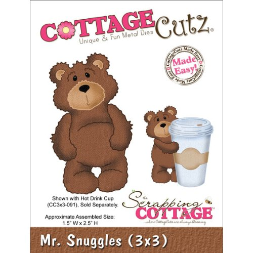 CottageCutz Die Cuts, 3 by 3-Inch, Mr. Snuggles
