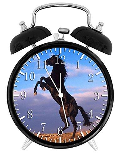 Beautiul Black Horse Alarm Desk Clock 3.75
