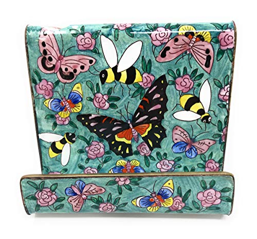 Kelvin Chen Butterflies and Bumblebees Enameled Desktop Cell Phone Holder Stand, 3.5 Inches Long