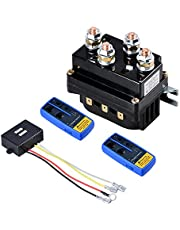 Astra Depot Universal Winch Contactor Solenoid Relay Controller 12V 500A DC Switch Boat Truck Thumb with Twin Wireless Remote Controls for ATV UTV 4x4 Vehicles 8000lbs-12000lbs Winches