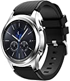 TERSELY Sport Band Strap for Samsung Gear S3/Galaxy Watch 46mm/Watch 3 45mm, 22mm Soft Silicone Metal Buckle Replacement Bands Fitness for Samsung S3 Frontier/Classic/Galaxy Watch 46mm/Watch 3 - Black