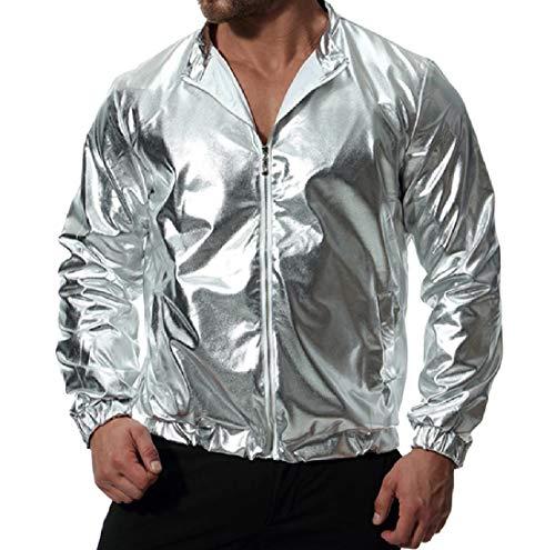 RkBaoye Men New Liquid Metallic Satin with Zips Nightclub Outwear Jacket Silver
