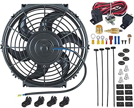 American Volt Universal 12 Volt Electric Radiator Cooling Fan 3//8 1//2 NPT Grounding Thermostat Sensor Switch Kit for Cars and Trucks 8 Inch