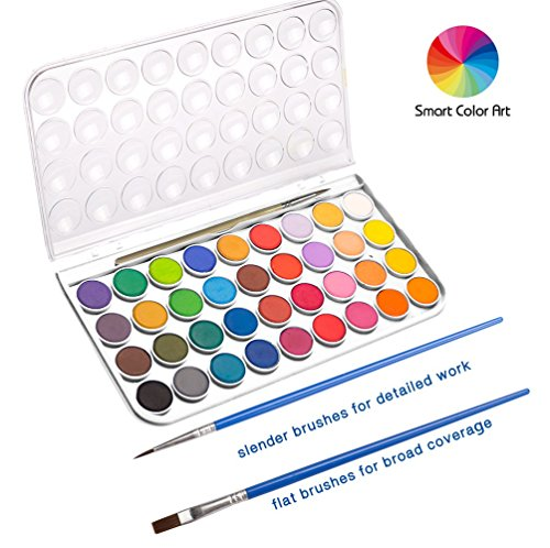 36 Watercolor Pan Set, Smart Color Art Watercolor Paint Set with 4 Brushes,Easy to Blend Colors, Perfect for Kids Adults by Smart Color Art (Image #2)