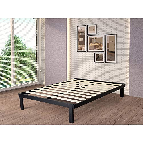 intelliBASE Deluxe Black Metal Platform Bed Frame with Wooden Slats, Queen Sized