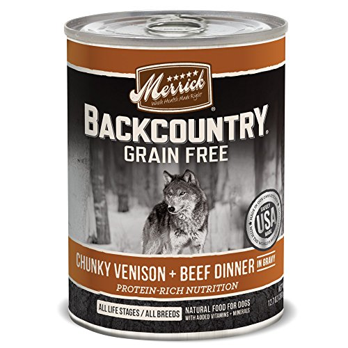 Merrick Backcountry Chunky Venison + Beef in Gravy Grain Free Wet Dog Food, 12.7 oz., Case of 12