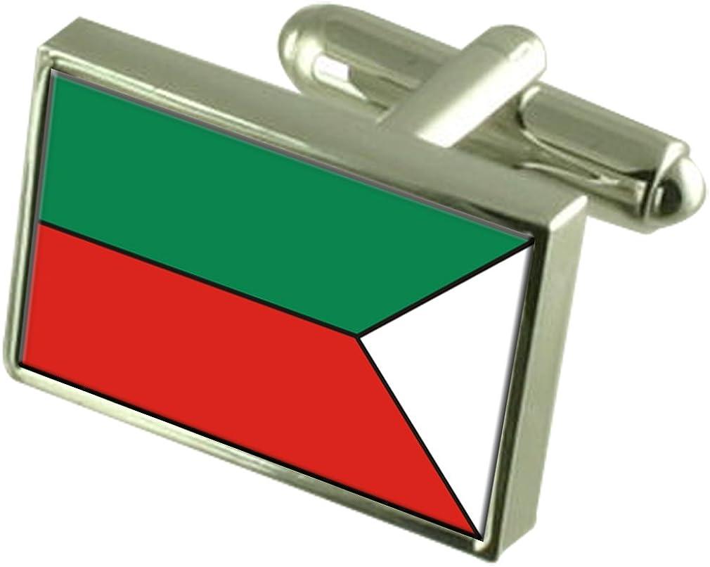 Pezinok City Slovakia Flag Cufflinks Engraved Box