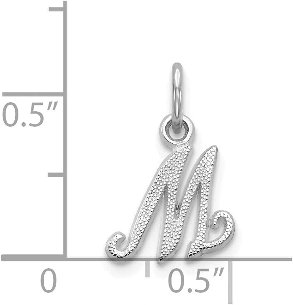 14K White Gold Charm Pendant Themed 16 mm 7 Casted Initial M