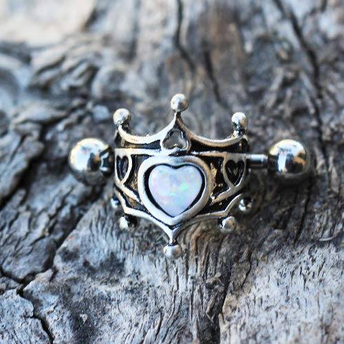 Covet Jewelry 316L Stainless Steel Medieval Design Heart Crown Cartilage Cuff Earring