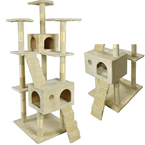 BestPet-CT-9073-Cat-Tree-Scratcher-Play-House-Condo-Furniture-Toy-73-Inch-Beige