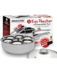 ExcelSteel 522 Non Stick Easy Use Rust Resistant Home Kitchen Breakfast Brunch Induction Cooktop Egg Poacher, 6 Cup, Stainless Steel
