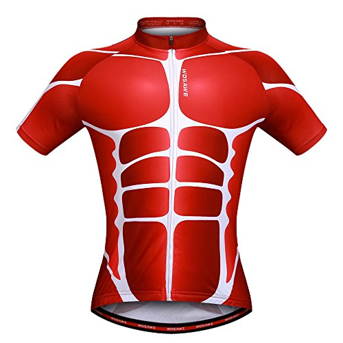 - WOSAWE Mens Skeleton Pattern Short Sleeve Shirt Outdoor Bicycle Cycling Jersey