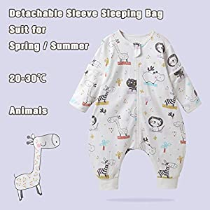 Baby Sleeping Bag with Feet Cotton Sleep Sack for Spring Summer Removable Long Sleeve Pajamas Infant Toddler Unisex 3-4…