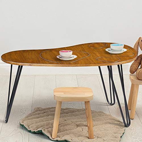 Ecos Living Wood Coffee Table,Steel Leg,End Table,Dining Table,Cocktail Table, Rustic Brown
