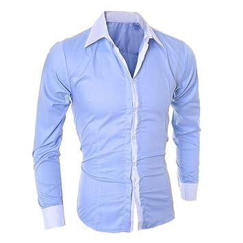 ღLILICATღ Hombre de Camisa fácil de Planchar de Slim Fit ...