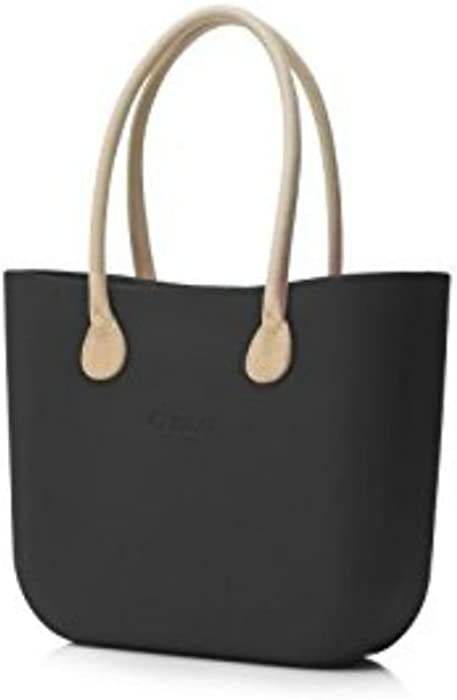 Borsa O Bag grande nera manici eco pelle beige  Amazon.it  Abbigliamento be78d4f069e