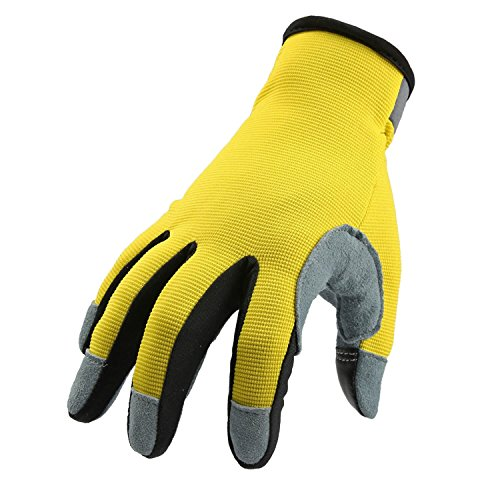 OZERO Garden Gloves with Genuine Deerskin Leather Palm and Sensitive Touch Screen Fingertips - Breathable and Snug-fit for Work, Gardening, DIY, Mechanics - Women and Men (Yellow,Medium)