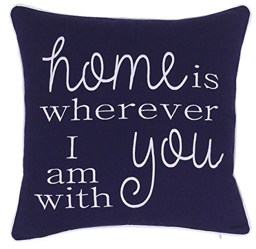ADecor Pillow Covers Home is wherever I am with you Pillowcase Housewarming Embroidered Pillow cover Decorative Pillow Standard Cushion Cover Gift Love Couple Wedding (18X18, Navy)