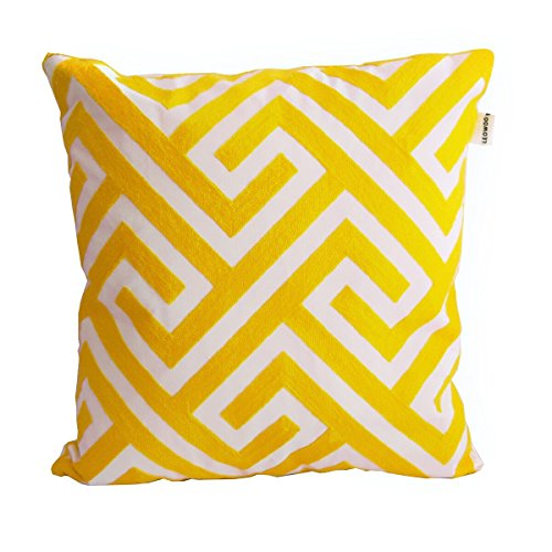 LEOWOO Embroidery Nordic Yellow Pillowcase Pillow Covers 18x18 Modern Abstract Geometric Cushion Covers 18