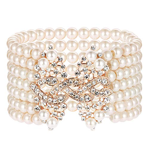 Roaring 20s Collection (BABEYOND 1920s Art Deco Bracelet Flapper Pearl Bracelet Great Gatsby Elastic Imitation Pearl Bracelet Roaring 20s Accessories Jewelry 7 Rows (Pink))