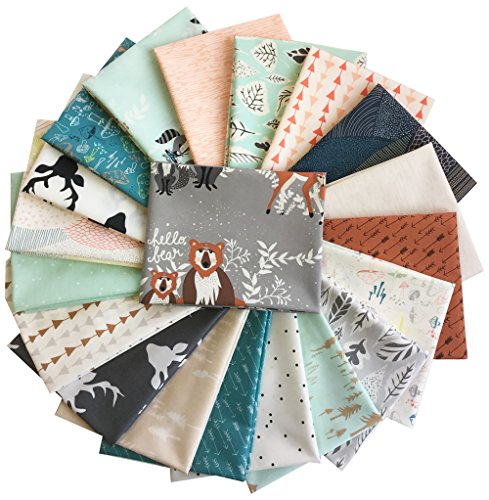 Art Gallery Hello Bear Fat Quarters 20 FQs Precut Cotton Fabric Quilting FQs Assortment Bonnie Christine by Art Gallery Fabric