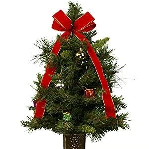 24 inch decorated artificial christmas tree with ornaments and a bow artificial bouquet featuring the designc flower holder tr1156