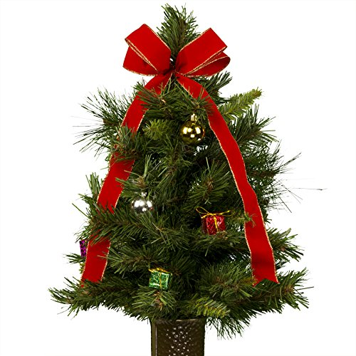 [24 Inch Decorated Artificial Christmas Tree with Ornaments and a Bow Artificial Bouquet, featuring the Stay-In-The-Vase Design(c) Flower Holder (TR1156)] (Christmas Floral Arrangements)