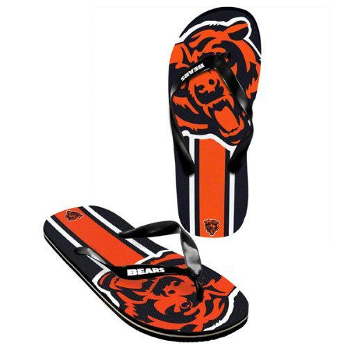 Chicago Bears official NFL Unisex Flip Flop Beach Shoes Sandals slippers size medium by forever