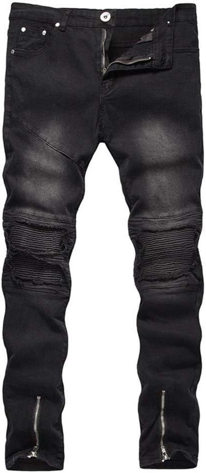 メンズジップワイドパンツ ハイストリートジッパー穴のジーンズのズボンのカジュアルなズボン エフェクトライトウォッシュ (Color : Black, Size : 36)