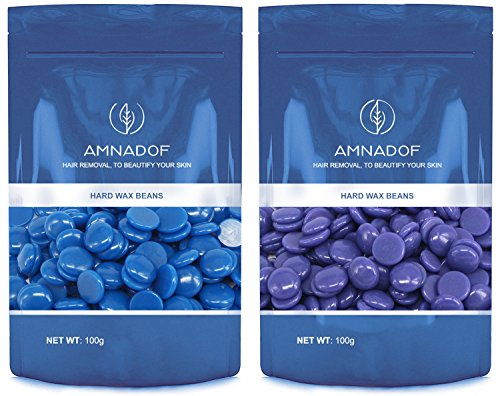 Hair Removal Hard Wax Beans, Amnadof Painless Waxing Ideal for Removal of Bikini and Body Hair on All Skin Types - Easy Depilatory & No Strips Required