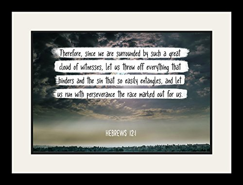 Bible Verse Wall Art ''And let us run with perseverance.'' Hebrews 12:1 Christian Poster Framed Picture Wall Decor Print | Spiritual Inspirational Verses and Quotes (19x25 Framed) by WeSellPhotos