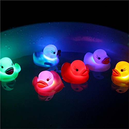 (LW Funny Toys Baby Rubber Bath Duck Toys Light-Up Bath Toys Flashing Light (6 Pack) Baby Shower Tub Toys Color Changing in Water For Babies Kids)