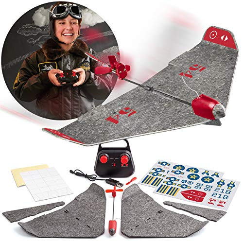 Motorized Airplane (FAO SCHWARZ DIY Foam RC Airplane Kit with Real Motorized Propeller, Build Your Own Flying Plane with Rechargeable Battery, Customize and Decorate with Decals and Stickers)