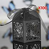 WITUSE 100Pcs Wedding Engagement Present Bag Black Party Cake Candy Favors Gift Boxes