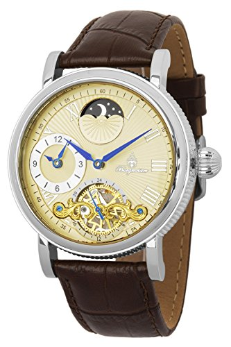 Burgmeister Men's Automatic Stainless Steel and Leather Casual Watch, Color:Brown (Model: BM226-175)