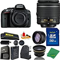 Great Value Bundle for D5300 DSLR – 18-55mm AF-P + 32GB Memory + Wide Angle + Telephoto Lens + Backpack