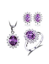 Jewelrypalace Princess Diana William Kate Middleton's 7.9ct Created Alexandrite Sapphire Jewelry Sets Ring Pendant Necklace Stud Earrings 925 Sterling Silver