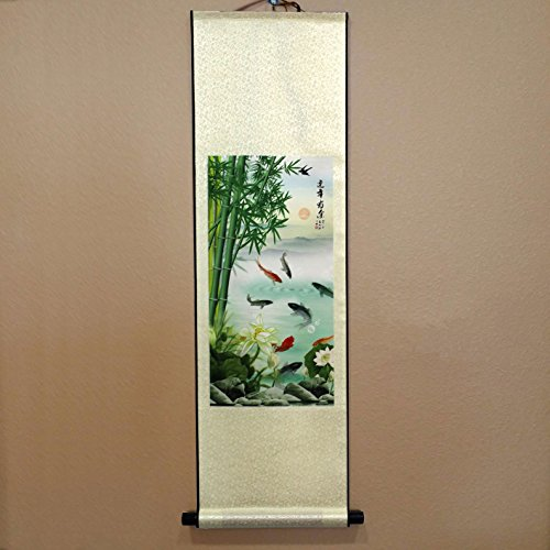 Scroll Wall Art Painting (SweetHome Asian Silk Scroll & Picture Scroll & Wall Scroll Calligraphy Hanging Artwork (Bamboo and Fish))