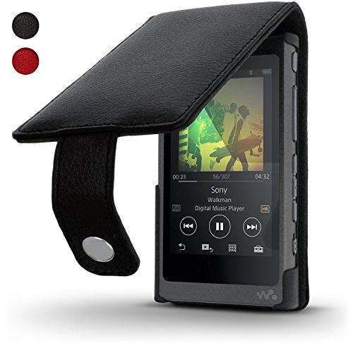 iGadgitz Black Leather Flip Case Cover for Sony Walkman NW-A35 NW-A40 NW-A45 MP3 Player with Magnetic Closure + Screen Protector ()
