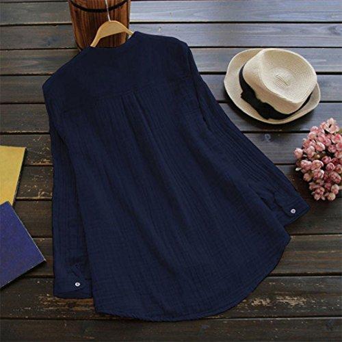 Longue Marine Bouton S Lin Lenfesh 5xl Femmes Coton avec Tuniques Manche Amples L'Automne Taille Grande Et OqqYvZnUWw