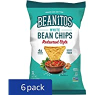 Beanitos Restaurant Style White Bean Chips with Sea Salt, Plant Based Protein, Good Source Fiber, Gluten Free, Non-GMO, Vegan, Corn Free Tortilla Chip Snack, 6 Ounce (Pack of 6)