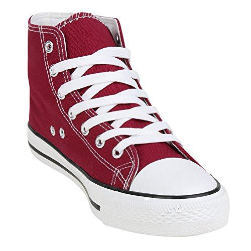Sportschuhe Stoffschuhe Sneakers Basic Jennika napoli Damen fashion Sportliche Schnürer Dunkelrot qOTIwvxn