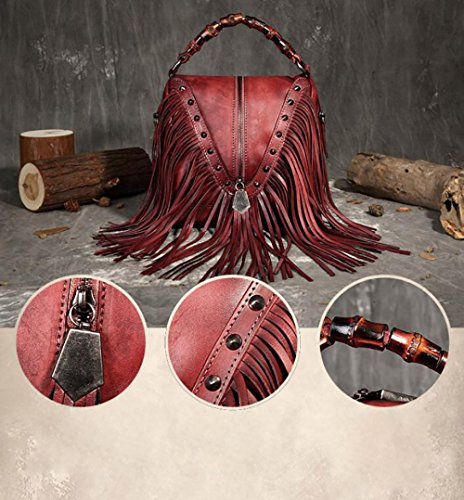 Satchel Studed Bag Fringe Red Leather Shoulder Strap Bag Featured Bamboo Tassel Cross Hand Body Bohemian Women's w8C7Uqxw