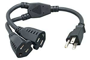 Cablelera Power Cord Extension and Splitter, NEMA 5-15P to NEMA 5-15R x 2, 16 AWG, 13A, 125V (ZWACPQAG-14)