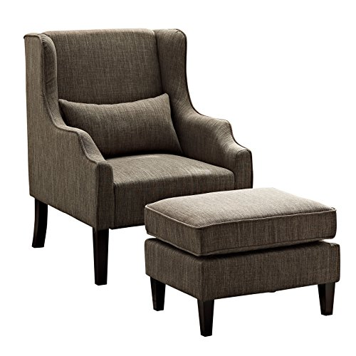 - Simpli Home AXCCHR-001-BRL Ashbury 29 inch Wide Transitional Wingback Club Armchair and Ottoman in Fawn Brown Linen Look Fabric