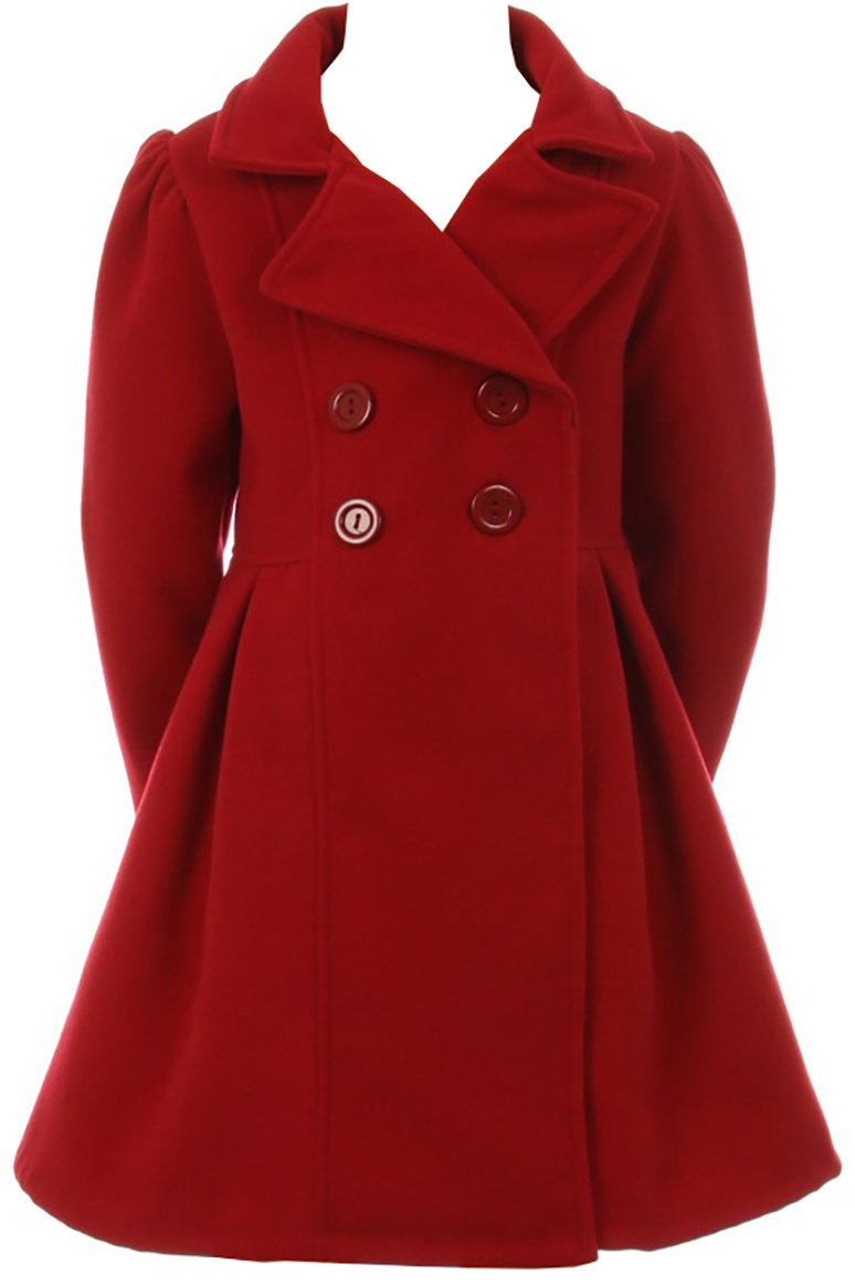 Girls Dress Coat Long Sleeve Button Pocket Long Winter Coat Outerwear 2-14