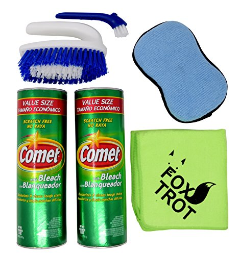 Comet Cleaner Total Kitchen And Bathroom Cleaner Kit   Two 25 Oz Canisters Comet Cleanser Powder With Bleach   Tough Scrub Sponge   2 In 1 Scrub And Detail Brush   Foxtrot Microfiber Towel
